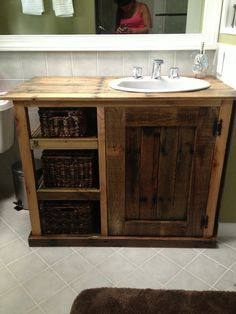 bathroom vanity made from pallets! love this idea, such a beautiful vanity!