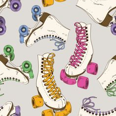 Roller skates seamlessly interlacing into a pattern vector art illustration