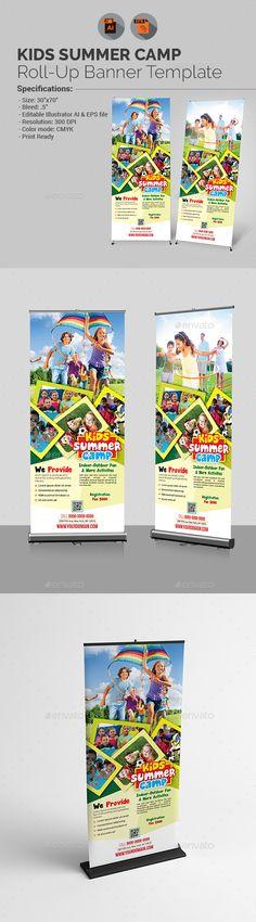 Kids Summer Camp Roll-up Banner Template - Packaging Print Templates