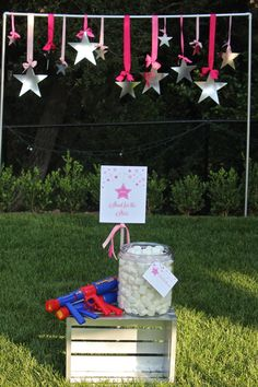 """""""Shoot for the Stars"""" game: hang cardboard stars on a PVC pipe frame and have kids use marshmallow guns to shoot at them...different point values for each size of star.  Brilliant!  {Bloom Designs}"""