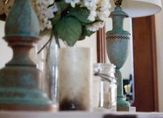 Create the look of old patina in three easy steps with a patina kit from Modern Masters. Everything comes together in a kit and it so easy to do. Chandelier Makeover, Lamp Makeover, Furniture Makeover, Glitter Vases, Light Up Canvas, Mirror With Hooks, Bee Boxes, Stone Columns, Concrete Lamp