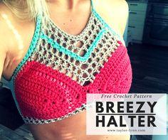 Breezy Summer Crochet Halter Top Pattern. Visit www.Taylor-Lynn.com for free crochet patterns and tutorials!
