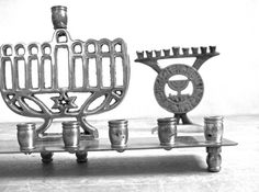 Vintage Brass Menorahs Hanukkah Jewish Judaica by RushCreekVintage