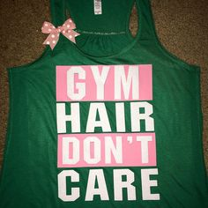 Gym Hair Don't Care - Gym Tank - Ruffles with Love - Racerback Tank -