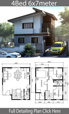 Small Home Design Plan with 4 Bedrooms - Home Plans - House Architecture Narrow House Designs, Narrow House Plans, Modern Small House Design, Simple House Design, Small House Plans, House Floor Plans, Two Story House Design, 2 Storey House Design, Bungalow House Design