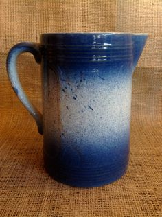 Vintage Blue & White Ceramic / Earthenware / Pottery/ Stoneware / Salt-Glazed Spatterware Milk Pitcher