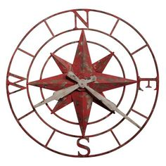 Howard Miller Compass Rose Wall Clock In Antique Red Wood - The Howard Miller Compass Rose Wall Clock is an eye-catching, oversized timepiece in authentic antique red finish. The compass rose design replaces the and 9 hour locations with N, S, E, and W. Big Wall Clocks, Rustic Wall Clocks, Mantel Clocks, Diy Clock, Clock Decor, Howard Miller Wall Clock, Compass Design, Metal Clock, Rose Wall
