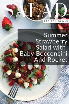 Summer Strawberry Salad with Baby Bocconcini And Rocket. The sweetness of strawberries matched with creamy bocconcini and drizzled with tangy aged balsamic vinegar is a match made in heaven! Easy Summer Salads, Summer Salad Recipes, Glazed Walnuts, Christmas Salad Recipes, Leafy Salad, Flat Pan, Aged Balsamic Vinegar, Savory Salads, Green Fruit