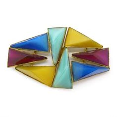 Image of Vintage Signed Czech Art Deco Rainbow Glass Abstract Buckle