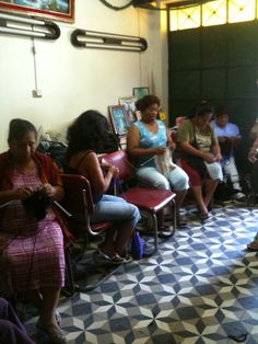 first visit to knitting ladies for bieq in outskirts of Lima Peru