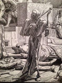 """Альфред Ретхель. """"Смерть, играющая на скрипке на Маскараде во время вспышки холеры в Париже в 1831 г."""" 1845."""