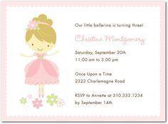 Pink Ballerina - Birthday Party Invitations in Tea Rose Ballerina Birthday Parties, Ballerina Party, 4th Birthday, Birthday Ideas, December Birthday, Make Birthday Invitations, Pink Invitations, Shower Invitations, Business Christmas Cards