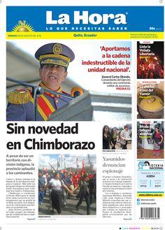 La portada de hoy 8 de agosto de 2015. Los temas destacados son: 'Aportamos a la cadena indestructible de la unidad nacional', Sin novedad en Chimborazo, Yasunidos denuncian espionaje, Lista la Velada Libertaria, Moda en talleres abiertos.