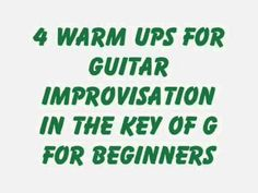 """Guitar Improvisation For Beginners Warm Ups Key Of G Number 4Here is the fourth of four videos teaching very easy, basic tools for guitar improvisation. Guitar improvisation does not always mean """"rock guitar improvisation"""". These simple exercises lead to ideas for modal improvisation."""