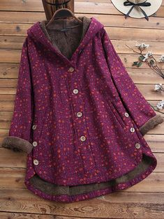 Amazing O-NEWE Floral Print Fleece Asymmetrical Button Plus Size Thick Coat on Newchic, here you can totally find a special and comfortable plus size outerwear to brighten you up! Plus Size Outerwear, Plus Size Coats, Fluffy Coat, Coat Sale, Winter Hoodies, Jackets For Women, Clothes For Women, Mothers Dresses, Types Of Sleeves
