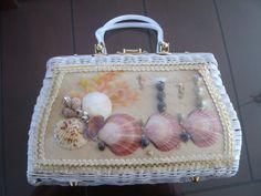 60s Plastic Straw/MOP Lucite Handles/Frame Handbag Purse Shells Design Hong Kong by LoukiesWorld on Etsy