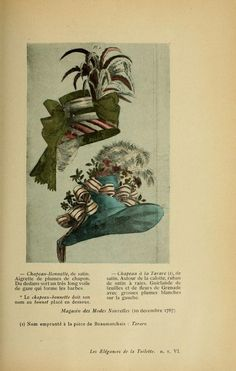 Les élégances de la toilette: robes--chapeaux--...circa late 1700s (period of Marie Antoinette) PUBLIC DOMAIN