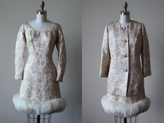 60s Dress - Vintage 1960s Dress Set - Aurora Borealis Lamé Silk Brocade Designer Cocktail Dress + Coat - Old Money Dress Suit