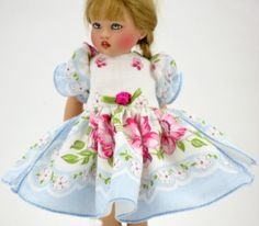 Baby blue with roses, hankie-dress for Riley Kish by Hankie Couture ♡ http://hankiecouture.com ♡ #hankiecouture