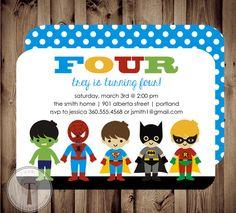 SUPERHERO Birthday Invitation, Chalkboard,super hero birthday invitation,building block man birthday,any age, boys birthday invitation