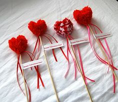 heart pom pom valentine's day wands - super cute and no sugar!