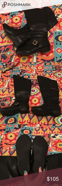 🌟HP🌟Tall, wide calf, riding boots!  Never worn! These are brand new, I never wore them except to try them on.  They are black faux leather, wide calf riding boots.  They are tall in the front from sole to top they measure about 20 in.  In the back from the heel to back of knee almost 16.5 in.  1 inch heel.  18.5 wide around the calf, they also have some stretch.  They are a size 8WW.  They are beautiful, but I'm 5'3 and they made my legs look even shorter then they are!   They came above…