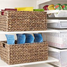 Cases of Mocha Water Hyacinth Storage Bins with Handles Pantry Door Storage, Toy Storage Bins, Fabric Storage Bins, Cube Storage, Plastic Storage, Storage Baskets, Pantry Closet, Shop Storage, Large Dog Crate