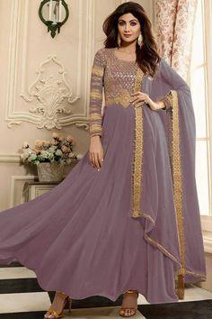Buy Shilpa Shetty Mauve Color Anarkali Churidar Suit - Salwar Kameez for Women from Andaaz Fashion at Best Prices. Salwar Kameez, Anarkali Churidar, Silk Anarkali Suits, Churidar Suits, Costumes Anarkali, Eid Dresses, Pakistani Dresses, Fashion Dresses, Sari Design