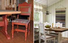 NYTT LIV TIL GAMLE MØBLER: Mørke farger: De gamle spisestuemøblene fra Lom møbler var tidligere røde. Berit synes det var litt pirkete å male stolene, men hun fikk god hjelp av datteren. Stoffet til stolsetet fant hun selv.