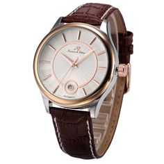 KS Luxury Rose Gold White Date Leather Automatic Mechanical Men Wrist Watch Brown Leather Watch, Automatic Watch, Watches For Men, Rose Gold, Luxury, Unique Jewelry, Accessories, Display, Women