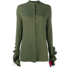 Haider Ackermann Ruffle Sleeve Shirt (50,695 MXN) ❤ liked on Polyvore featuring tops, green, ruffle sleeve shirt, flutter sleeve top, haider ackermann, green top and ruffle sleeve top