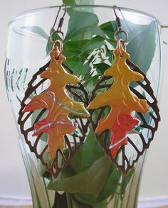 Falling Leaves Earrings   DOUBLE-sided.  Recycled Soda Can Art. Mango on Etsy, $11.95