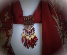 Beaded scarf jewelry, in red, brown, tan and purple