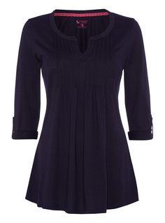 Womens Navy Pintuck Smock Top | Tu clothing