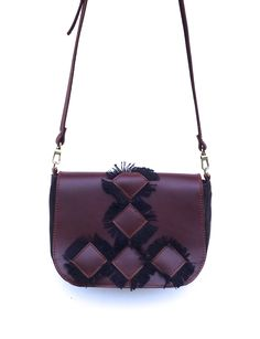 Canvas and  natural leather fringed bag