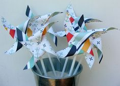 Bouquet of 6 Nautical Anchor Stripe Pinwheels by BakerStPaperGoods, $5.00