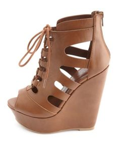 Strappy Cut-Out Lace-Up Platform Wedges: Charlotte Russe