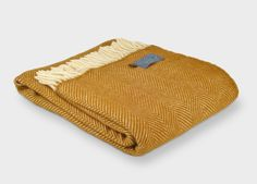 Mustard Yellow Herringbone Throw   The British Blanket Company