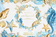Sea Clipart, Nautical Clipart, Mermaid Clipart, Watercolor Mermaid, Watercolor And Ink, Watercolor Pattern, Pencil Illustration, Graphic Illustration, Clip Art