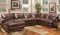 Large Leather Sectional Sofas Made in USA or Italy