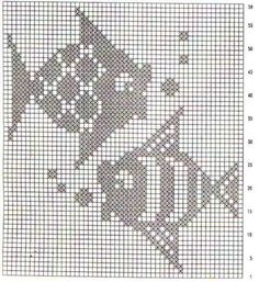 Crochet patterns toys little cotton rabbits 58 New Ideas Filet Crochet, Crochet Fish, Crochet Motifs, Crochet Mittens, Crochet Diagram, Crochet Chart, Crochet Doilies, Blackwork Embroidery, Cross Stitch Embroidery