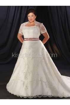 da572724ad Gergeous Sweetheart Lace Fabric Court Train Plus Size Wedding Dress with  Sash Bridal Wedding Dresses