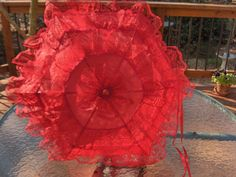 "SZ.24""DIAM. VINTAGE/DANCE COSTUME 3"" RED LACE on RED LONG WOOD HANDLE PARASOL #PARASOLSbyRochelle"
