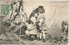 French Children Dressed up in Period Clothes Courting Romance Bergere et Marquis Vintage Postcard @butterflysattic #bmecountdown