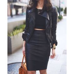 leather pencil skirt | Tumblr #leather