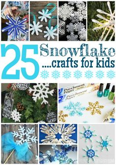 25 Snowflake Crafts For Kids is part of Kids Crafts January Children With colder temperature comes snow, so these crafts are a fun way to celebrate while staying warm! Winter Art Projects, Winter Crafts For Kids, Winter Kids, Preschool Winter, Snow Crafts, Holiday Crafts, Holiday Fun, Snowflake Craft, Snowflakes