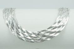 776625f4043 Corrente de prata 925 trancada 6 fios. Comprimento  45 cm. Largura  170 mm