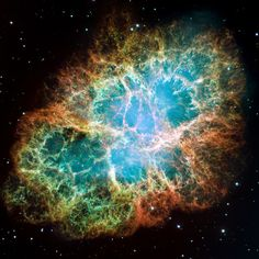 The Crab Nebula (M1) ~ the Crab is now known to be a supernova remnant, debris from the death explosion of a massive star, witnessed and recorded by astronomers in the year 1054. This sharp, ground-based telescopic view uses narrowband data to track emission from ionized oxygen and hydrogen atoms (in blue and red) and explore the tangled filaments within the still expanding cloud.