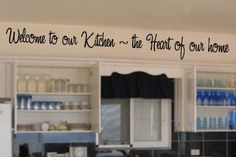 Welcome to our kitchen vinyl wall lettering words sticky art home decor quote... - http://pinfaves.net/categories/home-decor/vinyl-wall-art/welcome-to-our-kitchen-vinyl-wall-lettering-words-sticky-art-home-decor-quote/
