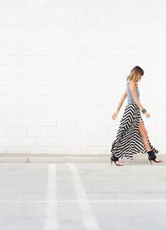spring, summer, fall, jean vest, black and white chevron maxi dress, maxi skirt, black heels